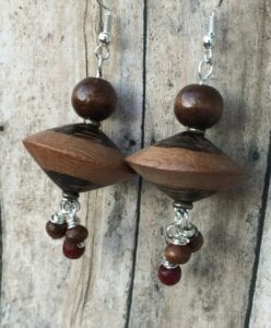 Purposeful websites-example showcasing Brown Wooden Dangle Earrings for its target market
