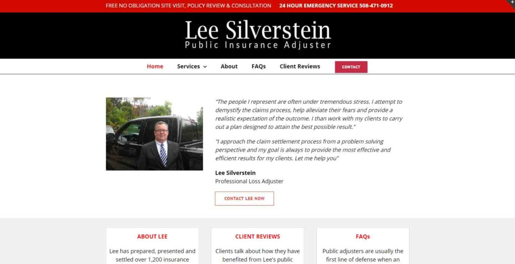 Website Design, Worcester, MA, Lee Silverstein Public Insurance Adjuster