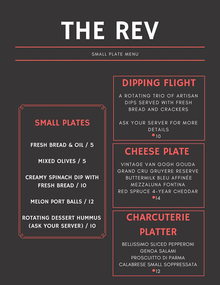The Rev - Menu