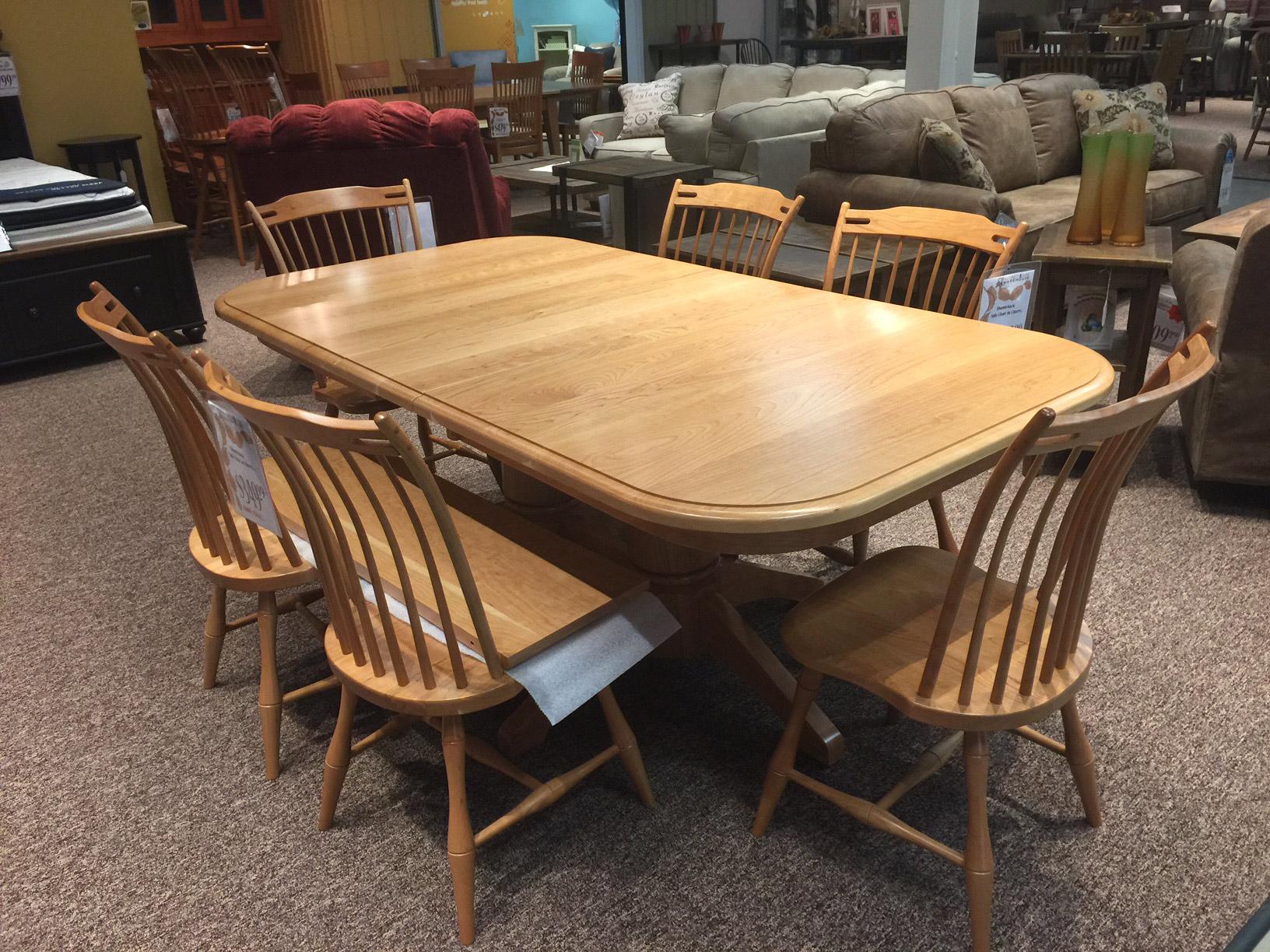 American Heirlooms Cherry Round Corner Double Pedestal Table