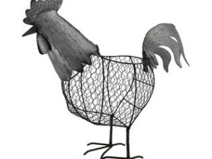 A&B Home Versatile and Adorning Metal Rooster Basket
