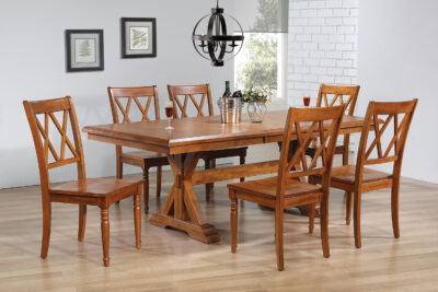 Amesbury Chair Butterfly Leaf Trestle Table and 6 Double X Back Side Chair