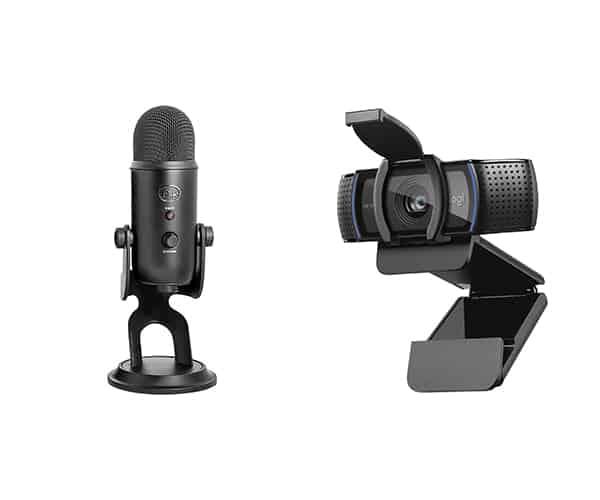 Blue Snowflake mic and Logitech Webcam