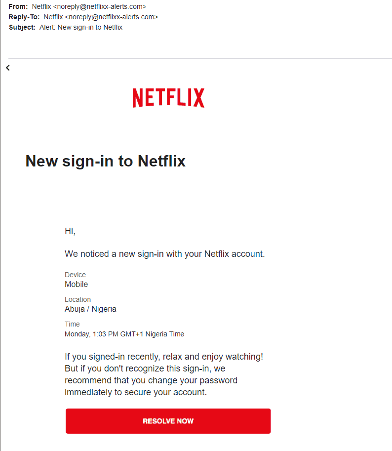 an example of a Netflix phishing email