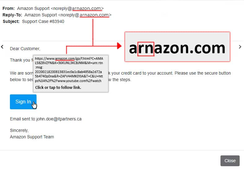A amazon phishing email explaining the problem with the email