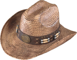 No. 3231-43Raffia Straw with Leather Band, Concho