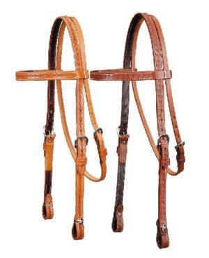 No. 5-128Basket Stamped Pony Headstall. Light or Dark Oil
