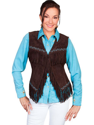 No. L26 Embroidered Finge Chocolate Vest Boar Suede
