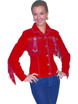 No. L152 Beaded Fringe Jacket, Color Red By Scully Leather