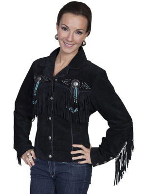 No. L152 Beaded Fringe Jacket, Color Black By Scully Leather