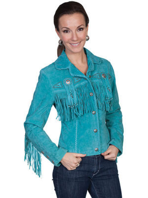 No. L152 Beaded Fringe Jacket, Color Turquoise By Scully Leather