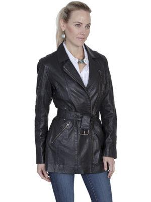 No. L330 Washed Lamb Coat, Color: Black