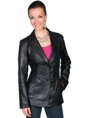 No. L646 Leather Blazer Lamb, Color: Black