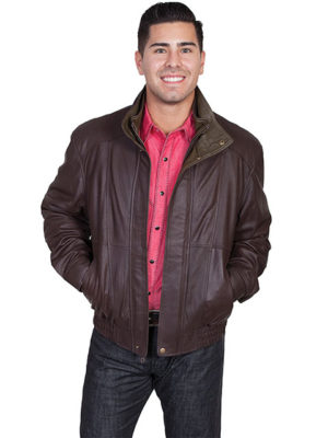 No. 48 Double Collar Featherlite Jacket, Color #260 Choc/Olive