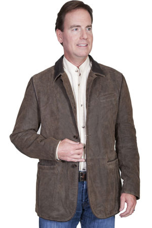No. 236 Leathe Blazer, Washed Lamb, Color: #195 Brown
