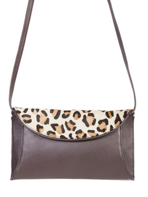 B63 Leather Handbag with Cheetah Flap, Color: Brown