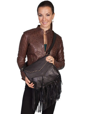 B73 Leather Handbag Studded Flap with Fringe, Color: Black