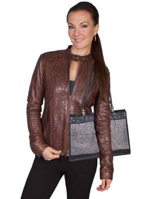 No. B77 Tooled and Studded Bolero Leather Handbag, Color: Black