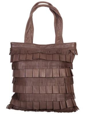 B-85 Leather Handbag with Fringe, Color: Brown