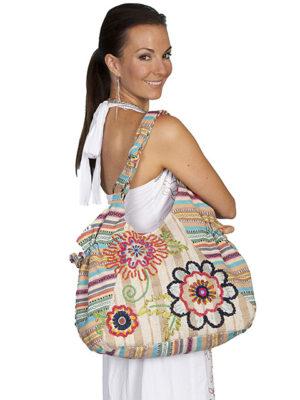 No. C-7 Cantina Collection Handbag, 95% Cotton-5% Jute, Natural