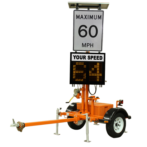 2 digit portable speed sign mounted on a trailer.