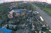 Drone flight at Tacloban Leyte Philippines 4 days after Typhoon Haiyan / Yolanda November 2013
