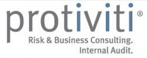 protiviti wordmark logo in grey with the i's blue