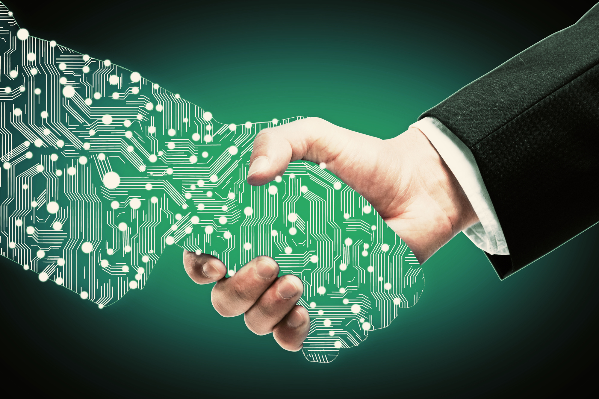 Businessman shaking digital partners hand on green background