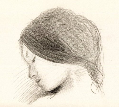 A drawing of a girl sleeping.