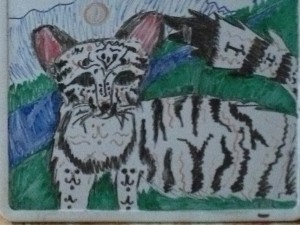 A drawing of a cat