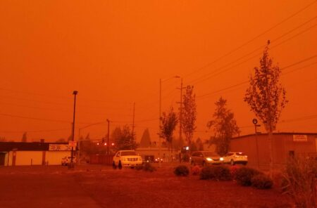 City street in red smokey haze, Protect Yourself from Wildfire Smoke