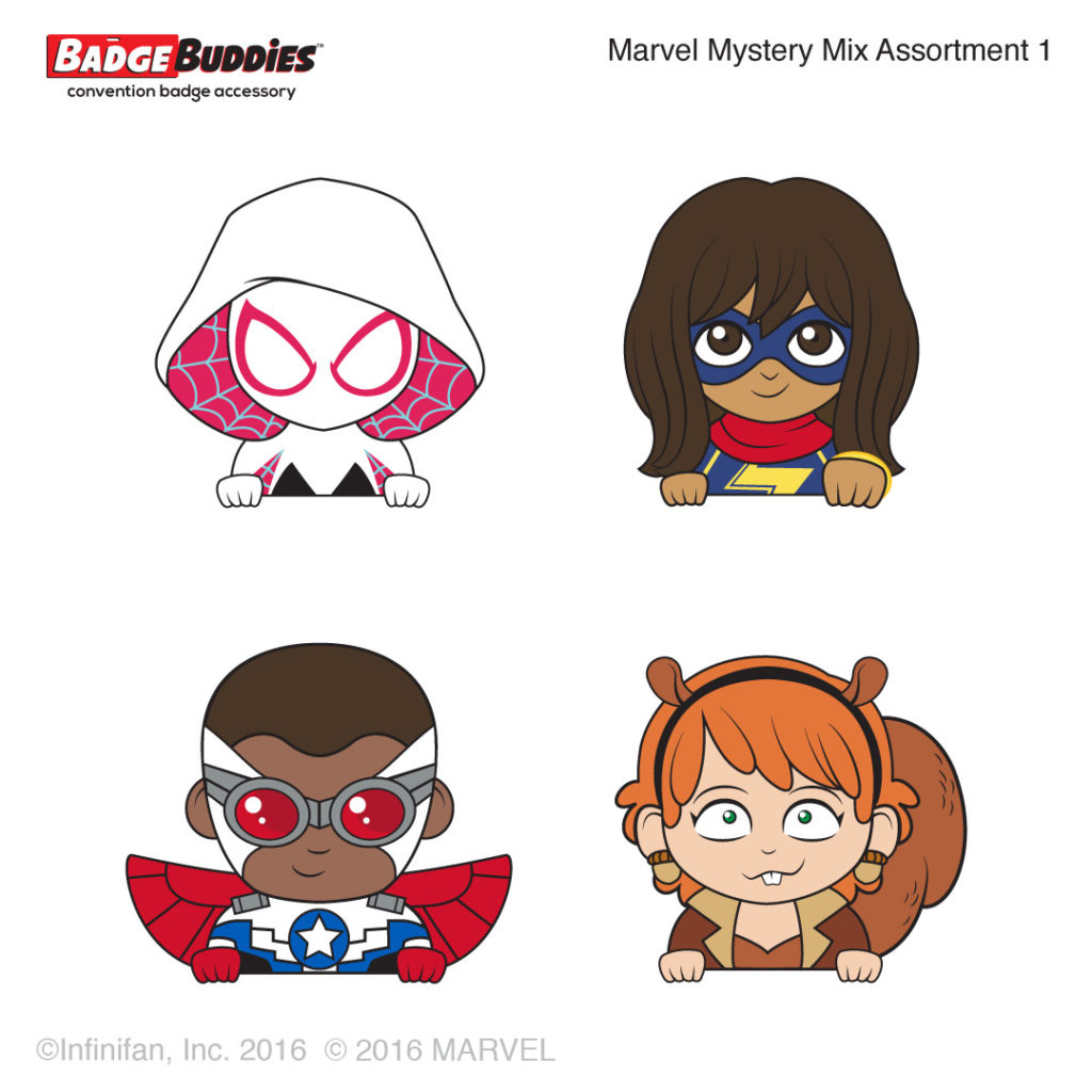 Designs for Spider-Gwen, Kamala Khan, Sam Wilson Captain America and Squirrel Girl!