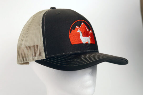 Black and tan embroidered llama hat
