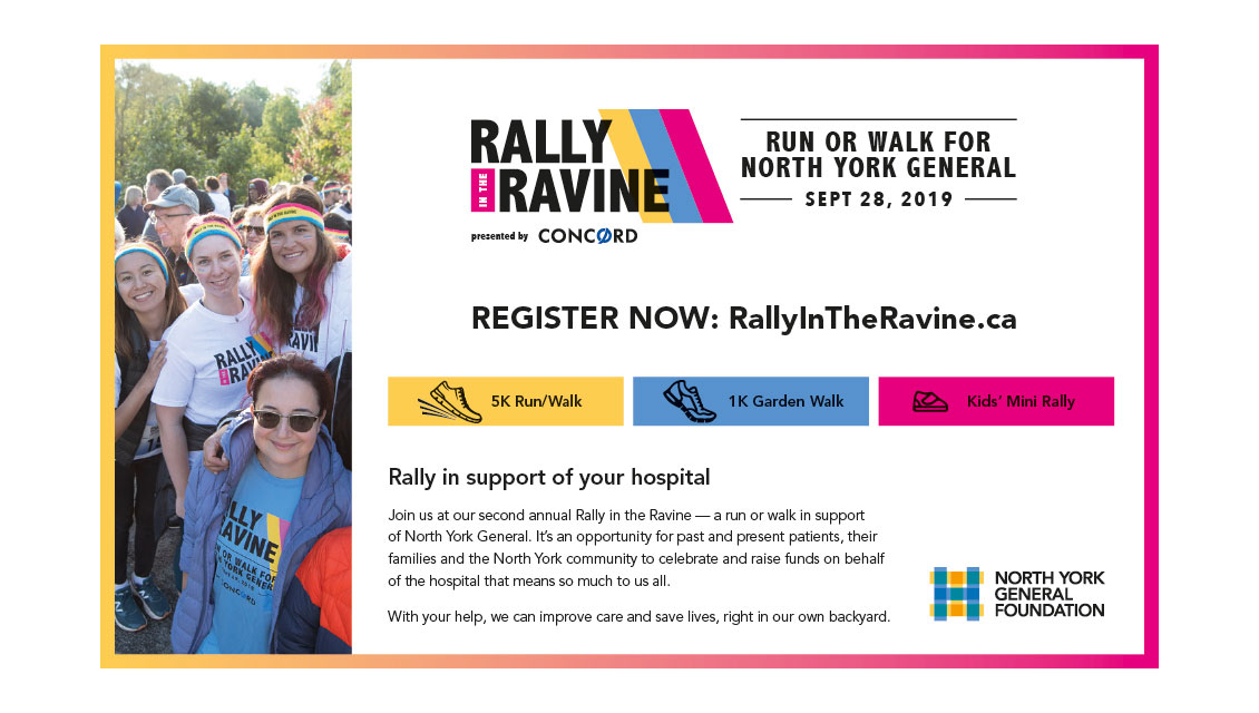 Newspaper Ad — Rally in the Ravine — North York General Foundation