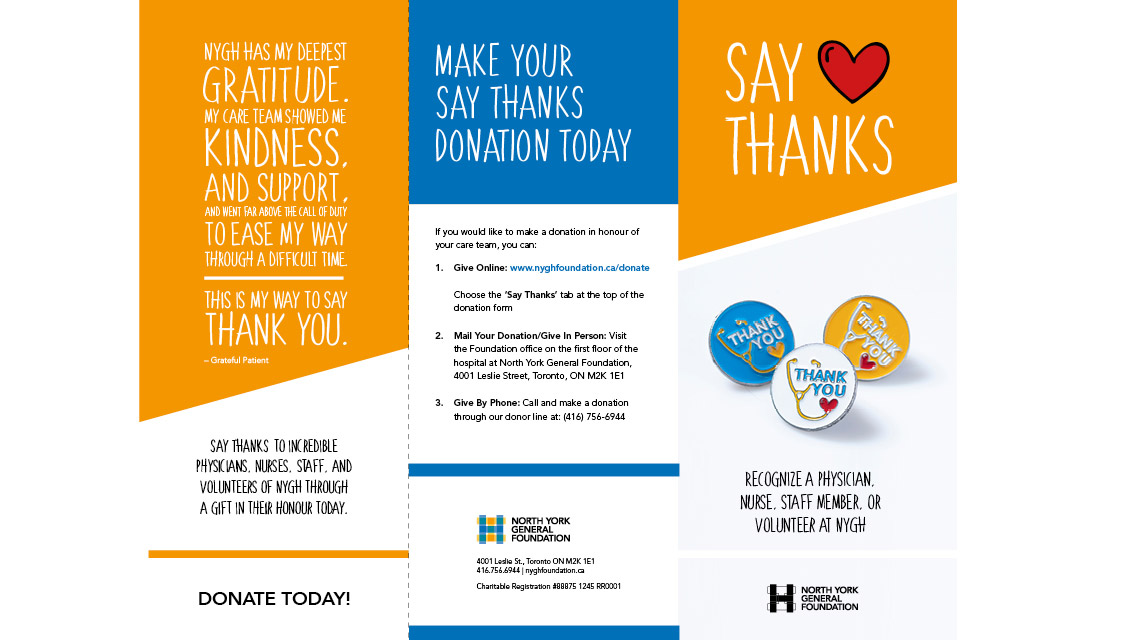 Say Thanks Brochure — North York General Foundation