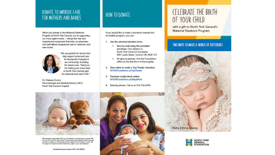 Say Thanks Maternal Newborn Brochure — North York General Foundation