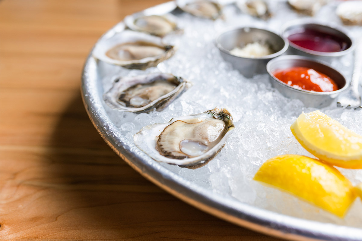 Raw NC oysters on the half shell at Locals Oyster Bar