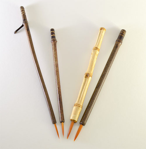 Orange Synthetic bristle set, with bamboo cane and wangi bamboo handless