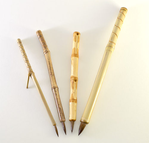 Small, Medium, Wangi and Large Pony Hair brush with bamboo cane and Wangi Bamboo handles