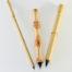 "Small, Medium, Wangi Medium, and Large Size Goat Synthetic blend brushes with 1.5"" inch bristle length."