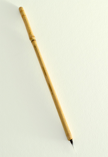 Small Size Goat Synthetic blend brush with half inch bristle length and bamboo cane handle.