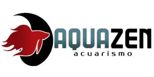 logo de aquazen acuarismo horizontal, tienda de acuarios en santiago