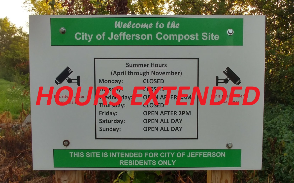 The Compost Site will be open continuously thru May 25th.  Normal compost site hours will resume on May 26th going forward.