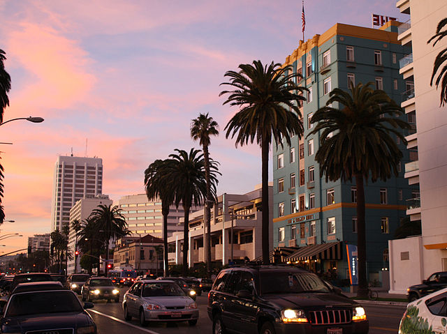 Street scene - buildings, palm trees and cars.