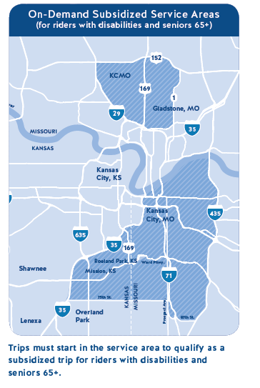 RideKC Freedom-on-Demand Service area map