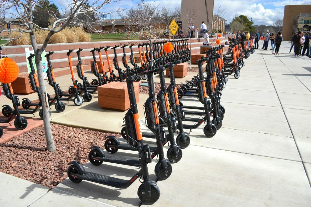 E-scooters displayed at launch event on the Dixie State University campus, St. George, UT