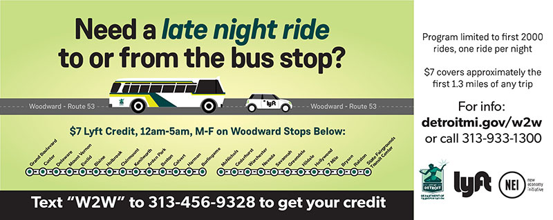 Program promo, infographic of a bus, Lyft car, and route stops