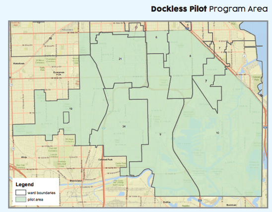 Map of Chicago south side of the Dockless Bikeshare pilot service area.