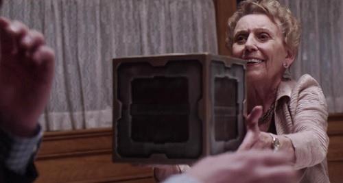 gremlin grandma gives box