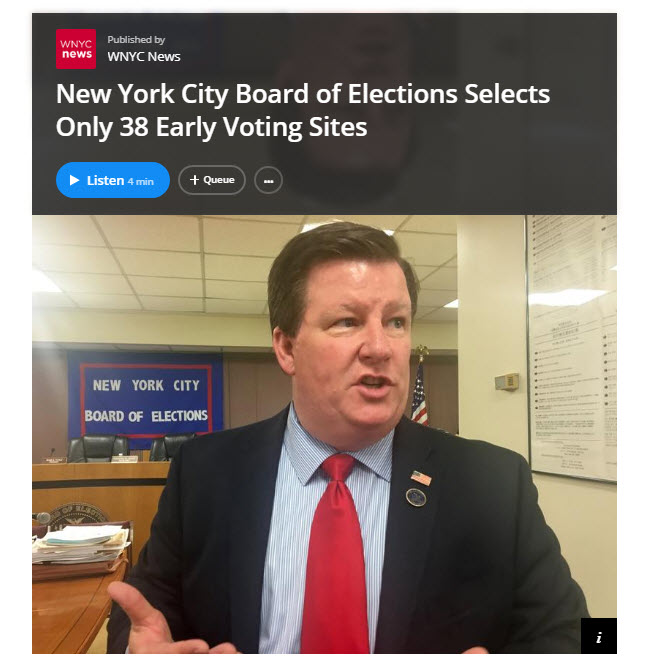 NYC Board of Elections Selects Only 38 Early Voting Sites